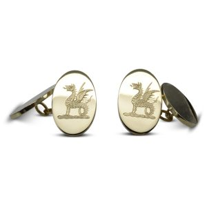 gold engraved cufflinks dragon