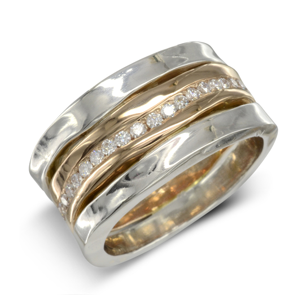 Hammered Eternity Ring rose gold white gold and diamond