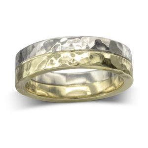 Hammered Two Colour Gold Wedding Band
