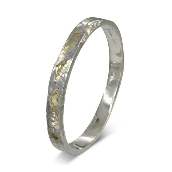 gold silver hammered bangle