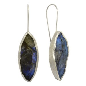 Labradorite Silver Marquise Earrings