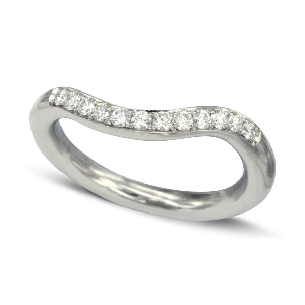 Pave set fitted diamond wedding band