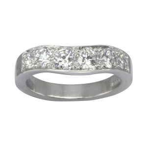 large diamond pave set fitted wedding ring