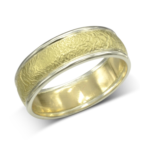Matt Two Colour Gold Wedding Band Pruden And Smith