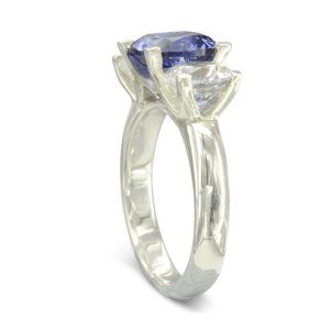 sapphire and diamond four claw ring