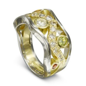 Diamond Two Colour Gold Wedding Band
