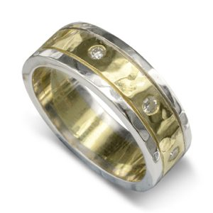 Diamond Hammered Two Colour Gold Wedding Band
