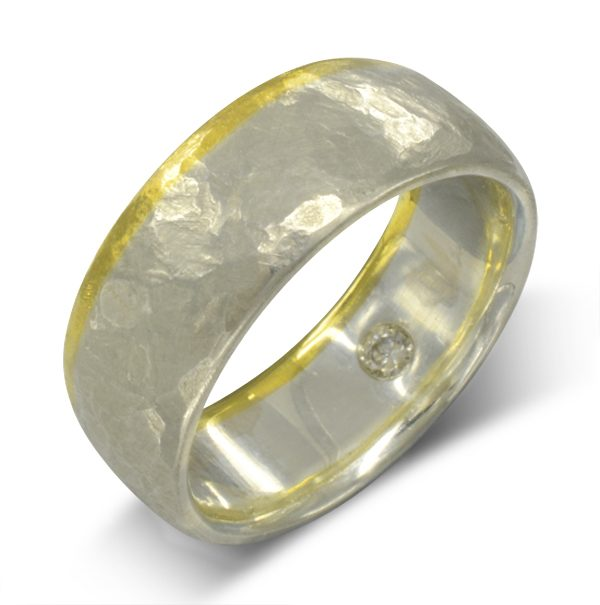 Rough Hammered Two Colour Gold Wedding Band