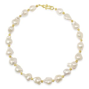 Gold baroque pearl necklace