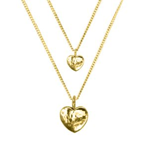 Heart Pendant Hammered Finish Gold Vermeil