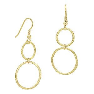 gold hammered ring earrings