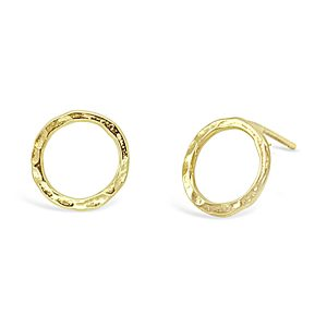Gold ring hammered earstuds