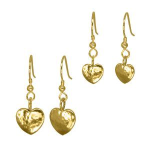 Heart Earrings Hammered Finish Gold Vermeil