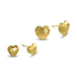 Heart Earstuds Hammered Finish Gold