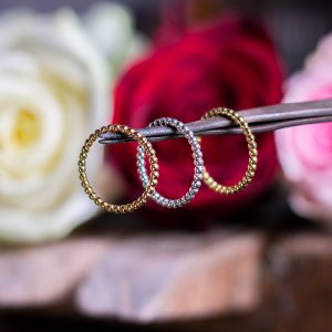 Silver or Gold Beaded Rings