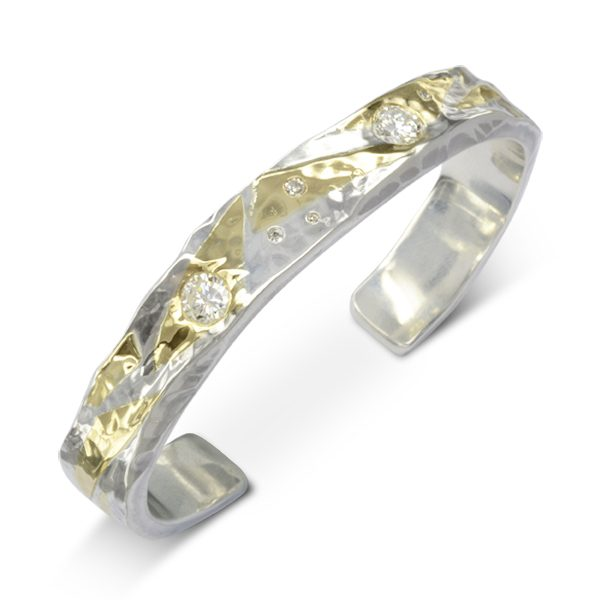 Gold Diamond Hammered Cuff