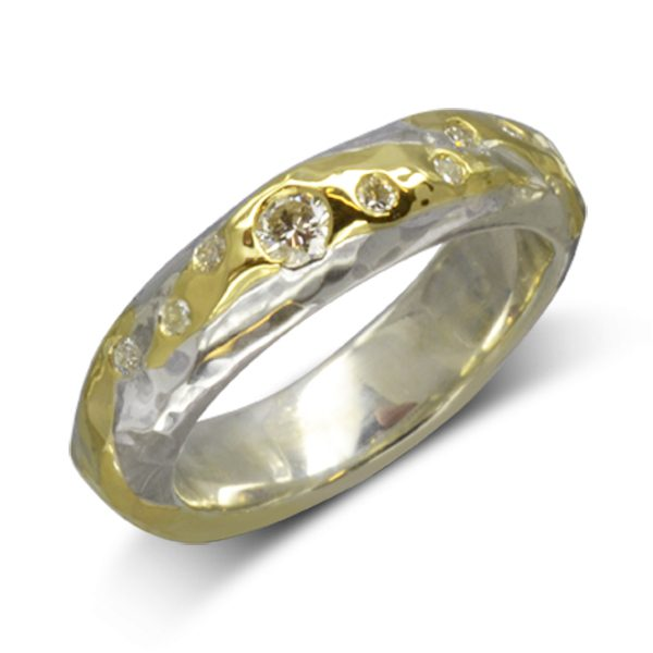 Hammered Gold Silver Diamond Ring