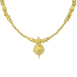 Roman gold love-bead charm necklace