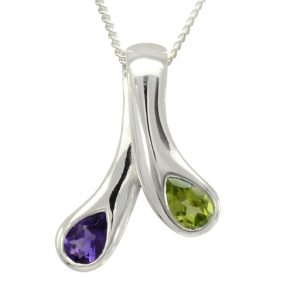moi et toi pendant amethyst and peridot