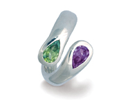amethyst and peridot moi et toi ring