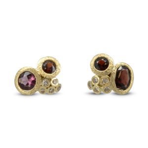 Redesigned Ruby Diamond Cluster Earstuds