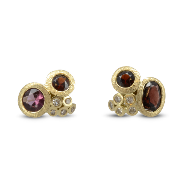 Redesigning Old Jewellery of Sentimental Value Ruby Diamond Cluster Earstuds