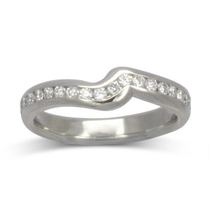 Channel set diamond fitted wedding ring