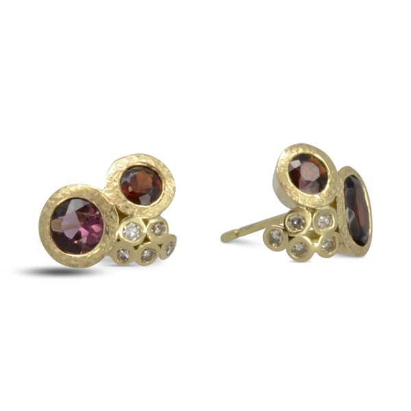 Gold Ruby Diamond Cluster Earstuds