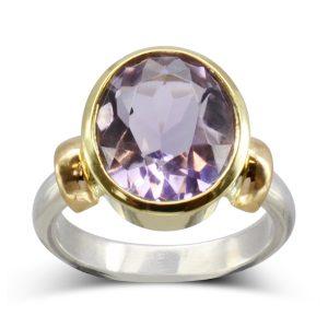Redesigned Amethyst two colour gold dress ring
