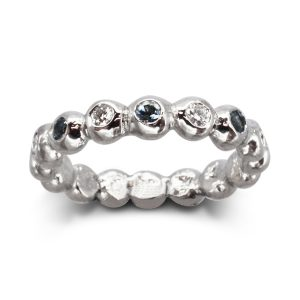 Aquamarine Diamond Nugget Eternity Ring