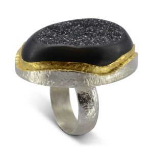 New Design Onyx Druzy Ring
