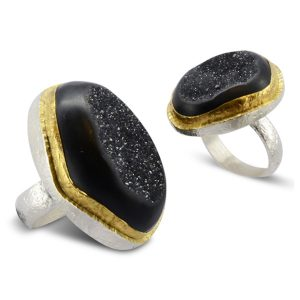 Black Onyx Druzy Dress Ring