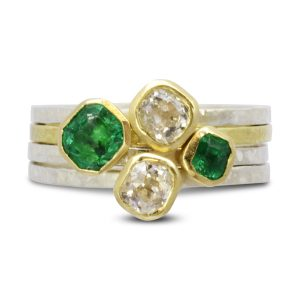 Emerald Old Cut Diamond stacking Rings