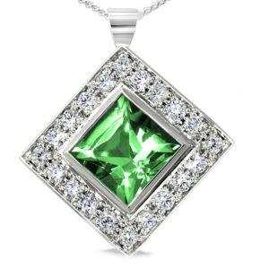 Emerald Diamond Cluster Pendant