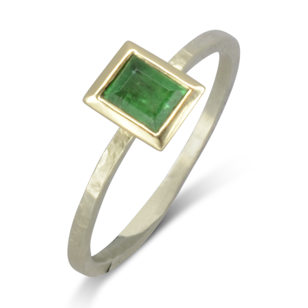 Large Emerald Stacking Ring