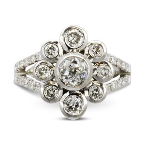 Bespoke Contemporary Diamond Cluster Ring