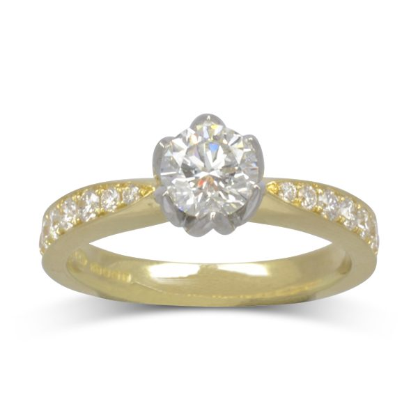 Bespoke Tulip Set Two Colour Diamond Engagement Ring