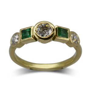 Yellow Gold Emerald Diamond Ring