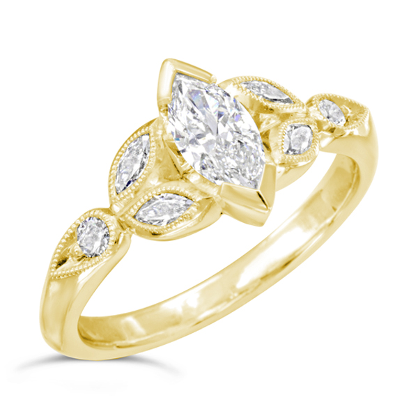 Gold Vintage Marquise Diamond Ring