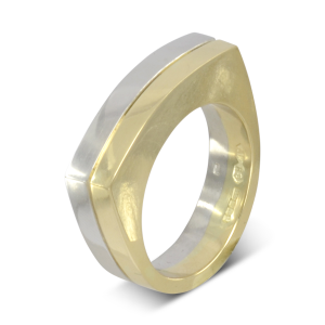 Curved flat top two colour wedding ring