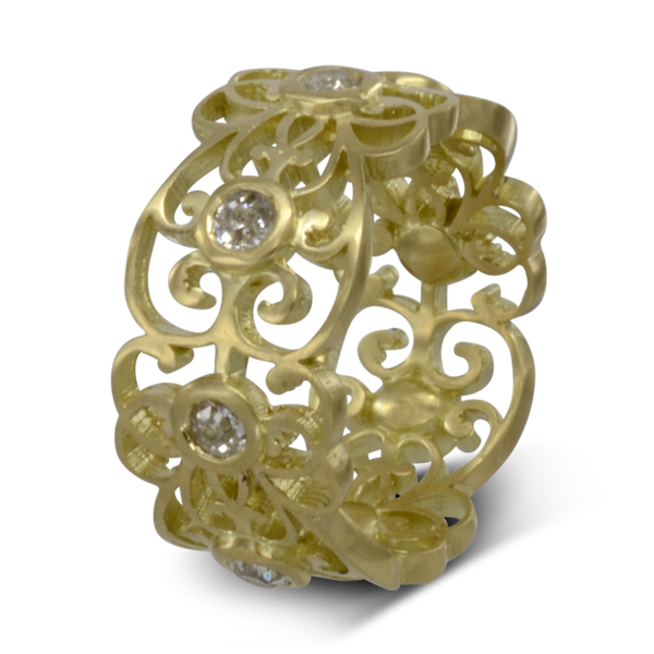 Gold Diamond filigree eternity ring