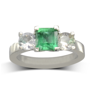 Emerald four claw trilogy ring