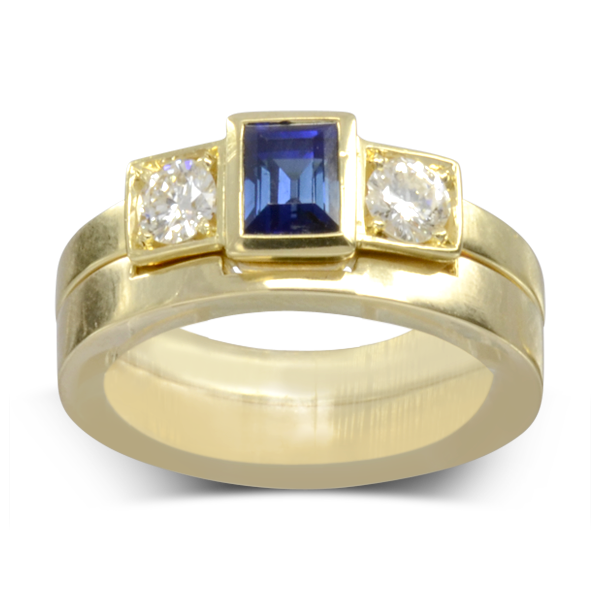 Fitted emerald cut wedding band