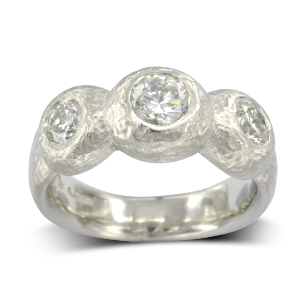 1ct Diamond Nugget trilogy ring
