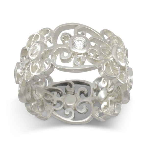 diamond set platinum filigree ring