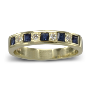 square sapphire diamond eternity ring