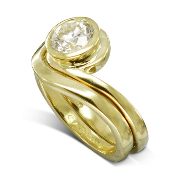 1.5ct diamond gold offset engagement ring and wedding ring