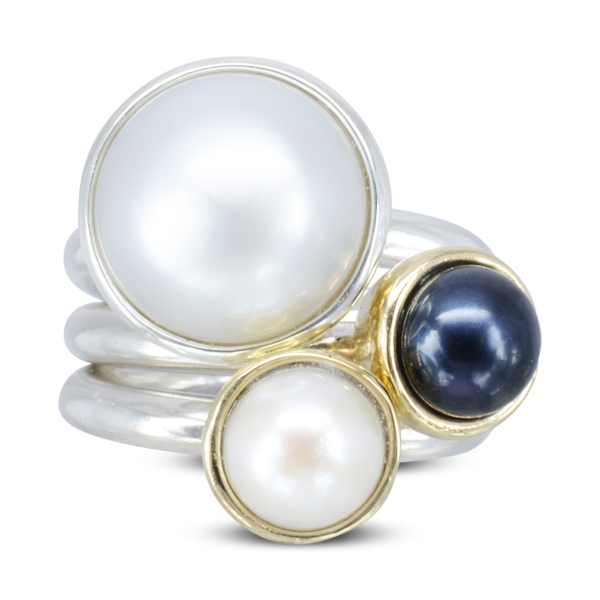 giant pearl stacking rings