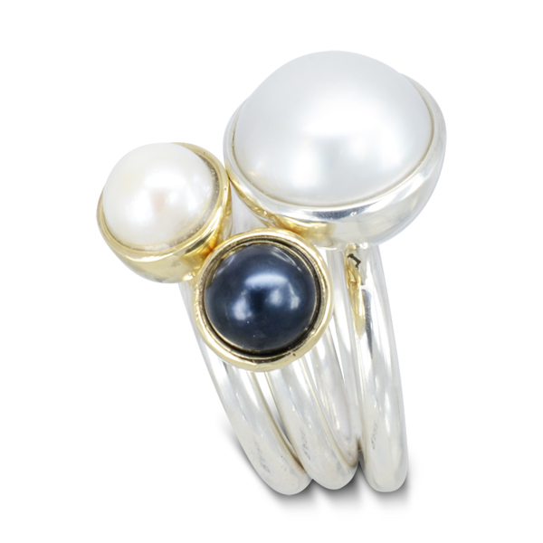pearl stacking ring set