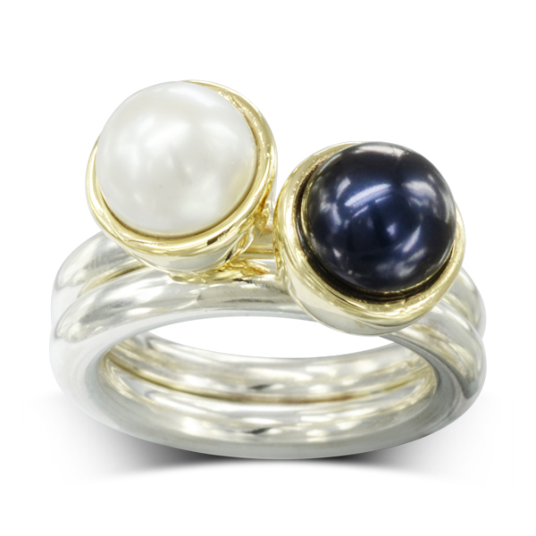 silver and gold black and white pearl stacking rings